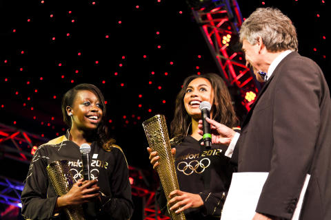 London 2012 cauldron lighters Adelle Tracey and Desiree Henry at the SportsBall in 2012