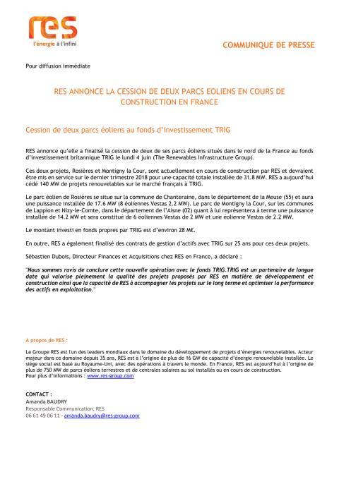 RES annonce la cession de deux parcs éoliens en cours de construction en France