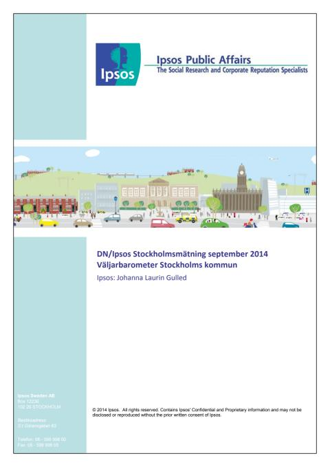Stockholmsmätning september 2014 - Maktskifte i Stockholm om det vore val idag