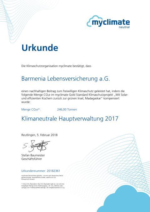 """Barmenia-Urkunde von myclimate """"Kompensationshöhe und Klimaneutralität"""""""
