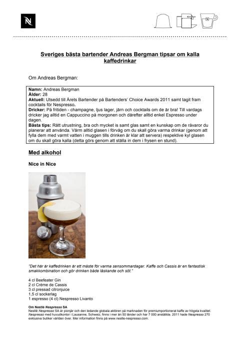 Sveriges bästa bartender Andreas Bergman tipsar om kalla drinkar