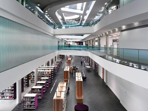 Number One Riverside: The library and customer service centre can be seen on the ground floor