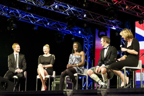 Greg Rutherford, Rebecca Adlington, Christine Ohuruogu, Tim Baillie and Katherine Grainger at the SportsBall in 2012