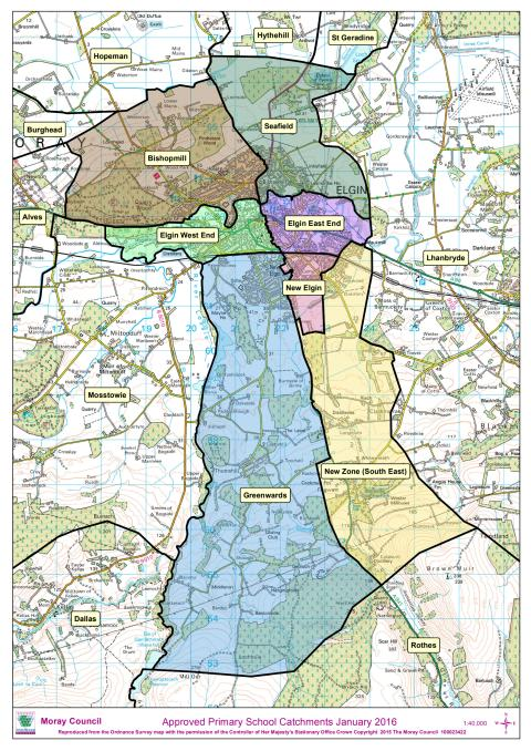 Map showing new school catchment zones in Elgin