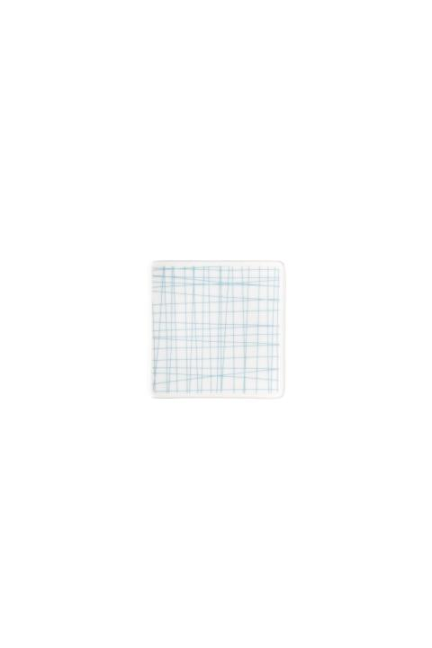 R_Mesh_Line Aqua_Plate 9 cm square flat