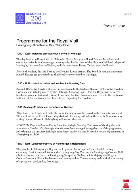 Programme for the Royal Visit, Helsingborg, Bicentennial Day, 20 October