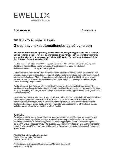 Swedish version of press release