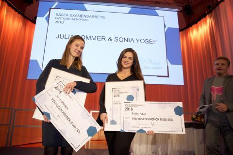 Grattis Sonia Yosef och Julia Sommer till utmärkelsen Bästa examensarbete inom Fastighetsekonomi 2016  - High Yield – tid att blomstra?