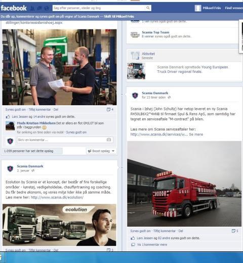 Scania Danmark har nu 10.000 fans på Facebook