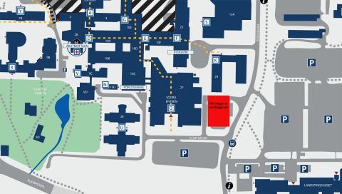 Karta över placeringen av byggnad 29.