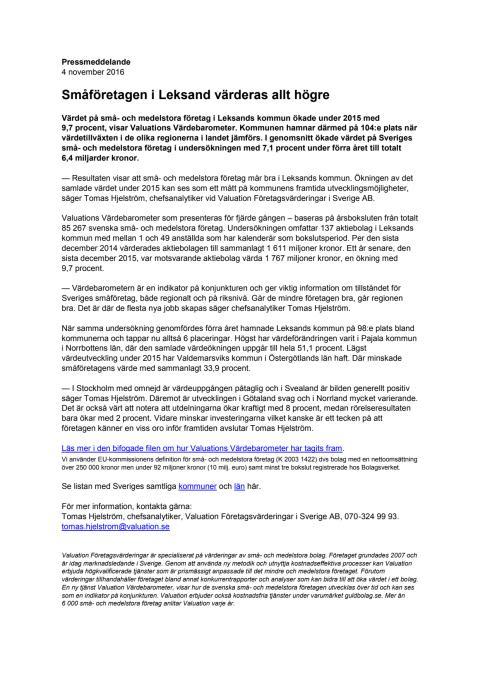Värdebarometern 2015 Leksands kommun