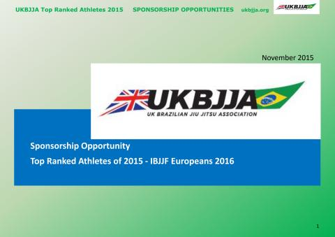 UKBJJA Sponsorship Pack for the 2016 European Championships