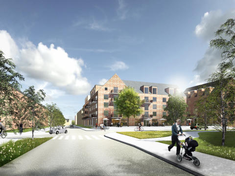 Illustration från planprogram Lilljansberget. Vy från söder. Visar förslag på ny utformning av Petrus Laestadius väg.