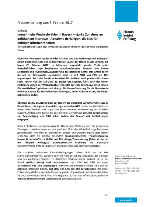 Pressemitteilung: Immer mehr Wechselwähler in Bayern – starke Zunahme an politischem Interesse - Abnahme derjenigen, die sich für politisch informiert halten