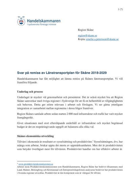 Svar på remiss av Länstransportplan för Skåne 2018-2029