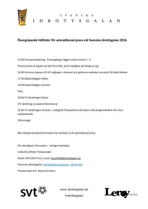 Hålltider för ackrediterad press under Svenska Idrottsgalan 2016