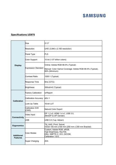 Specifikationer för UD970