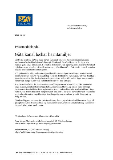 Pressmeddelande Göta kanal lockar barnfamiljer
