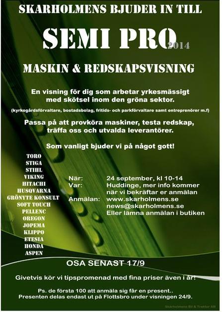 Maskin- och redskapsvisning hos Skärholmens Bil & Traktor AB – 24 sept.