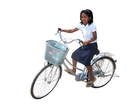 Flicka på cykel - frilagd