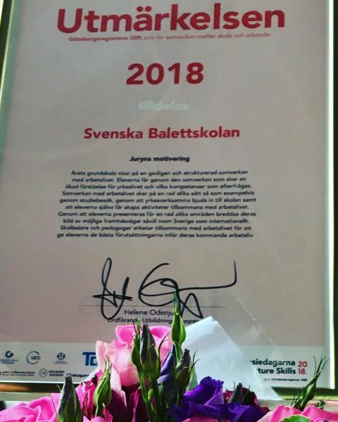 Svenska Balettskolan bästa grundskola 2018 - vinnare av GRs Utmärkelsen 2018