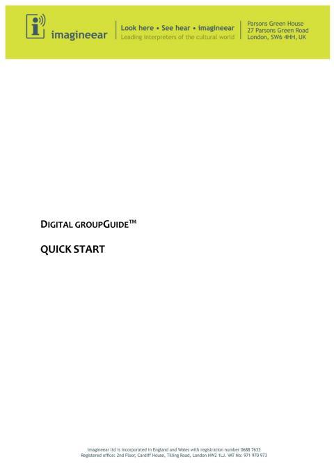 imagineear Digital groupGuide Quickstart manual