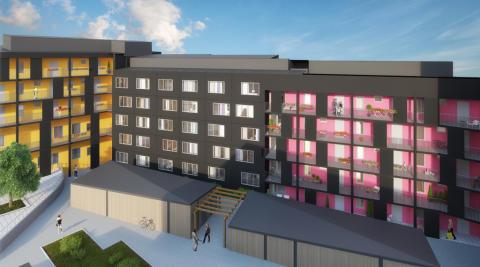 Yteffektiva lägenheter planeras vid Kvarnbergsplan i Huddinge. Foto: Veidekke