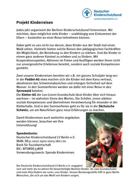 """Deutscher Kinderschutzbund LV Berlin e.V.: Projekt """"Kinderreisen"""""""