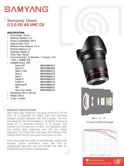 Samyang 16mm 2,0 datablad