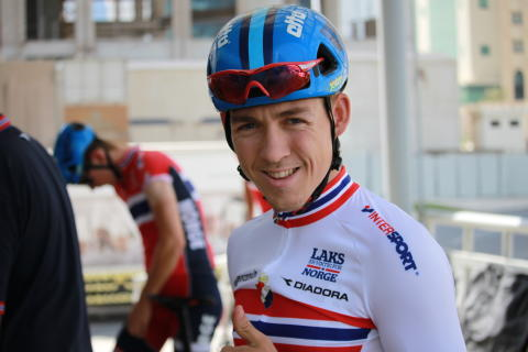 Kristoffer Halvorsen under sykkel-VM i Doha 2016