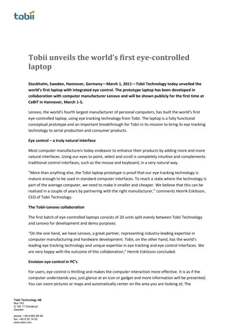 Tobii unveils the world's first eye-controlled laptop