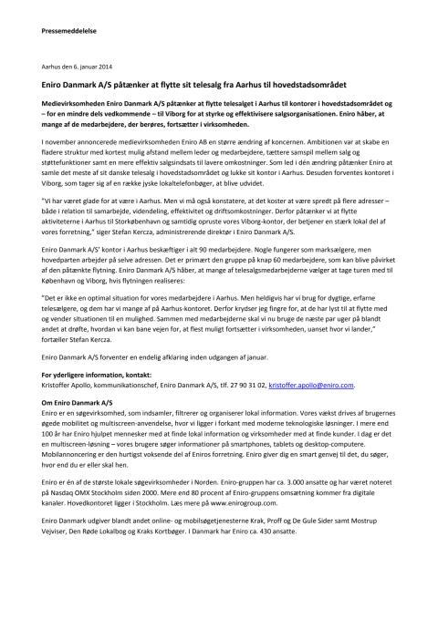 Pressemeddelelse: Eniro Danmark A/S påtænker at flytte sit telesalg fra Aarhus til hovedstadsområdet
