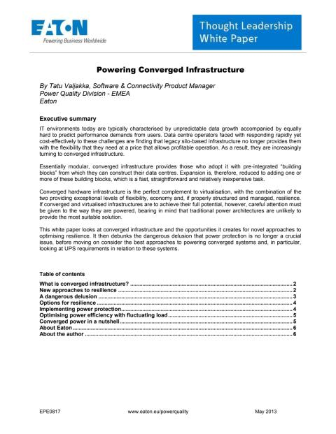 White paper: Kraft till konvergerad infrastruktur
