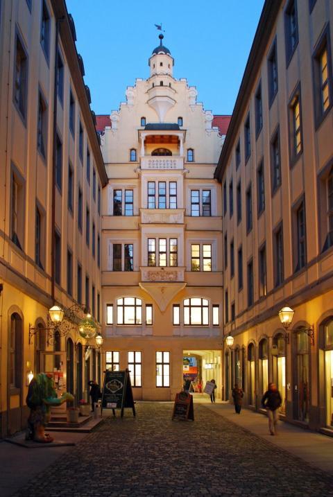 Das historische Ensemble des Barthels Hof in Leipzig