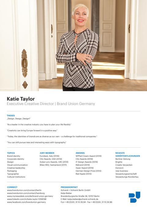 Sedcard Katie Taylor, Executive Creative Director, english version