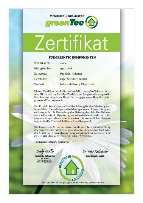 DIGEL HEAT Infrarotheizungen ist greenTec zertifiziert