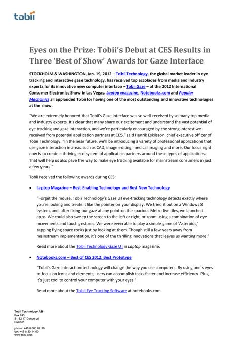 Eyes on the Prize: Tobii's Debut at CES Results in Three 'Best of Show' Awards for Gaze Interface