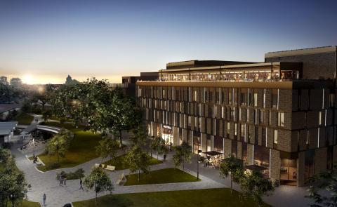 Bild: Skissbild på nya Clarion Hotel i Sundsvall