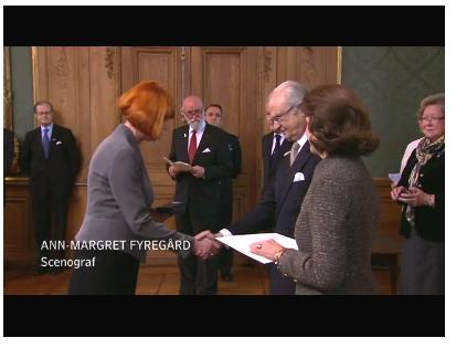Set and costume designer Ann-Margret Fyregård awarded a medal by the King Carl XVI Gustaf