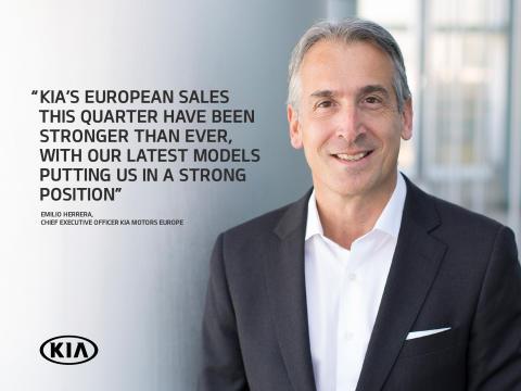 Kias europasjef, Emilio Herrera, er  fornøyd med salgsutviklingen.