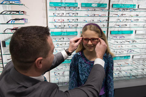 Eye cancer survivors Tom and Lily join up to unveil Vision Express Windsor store