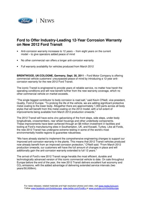 FORD TO OFFER INDUSTRY-LEADING 12-YEAR CORROSION WARRANTY ON NEW 2012 FORD TRANSIT