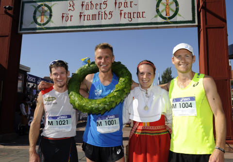 Top 3 Ultravasan 2015 at the famous Vasaloppet finish in Mora, Sweden