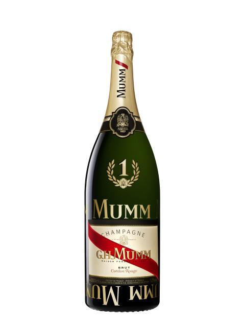 """G.H MUMM afslører det nye udseende på sin ikoniske Formel 1 Cordon Rouge 3 liters """"Jeroboam"""" flaske"""