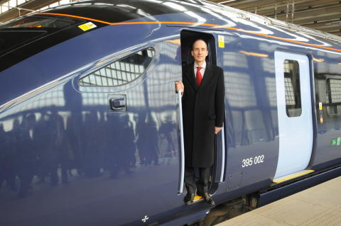 Lord Adonis aboard the Class 395 train