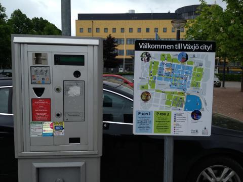 Nya parkeringsvägvisningsskyltar i Växjö city