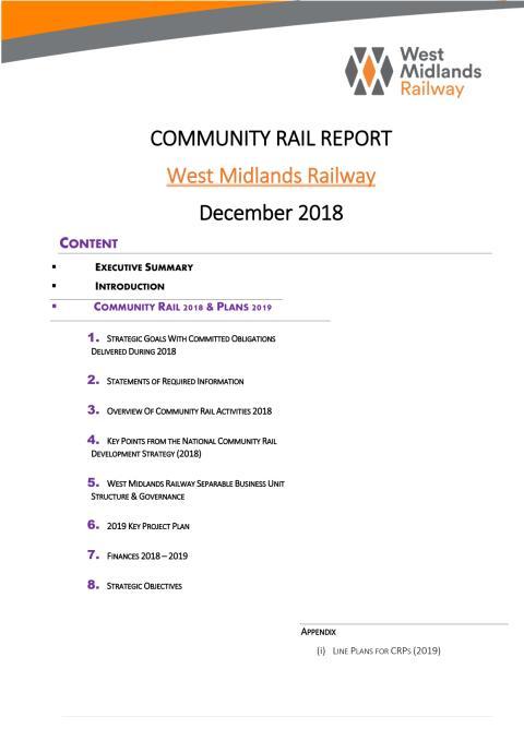 Community Rail Report - West Midlands Railway