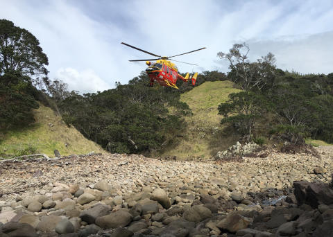 Hi-res image - ACR Electronics - the rescue helicopter arrives to help Dylan Holzheimer