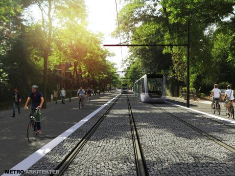 Spårväg Lund C-ESS. Visionsbild: Spårvagnar i S:t Laurentiigatan