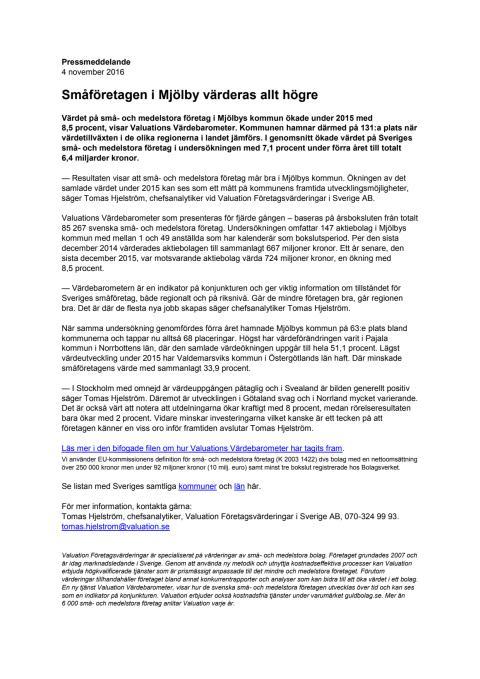 Värdebarometern 2015 Mjölbys kommun